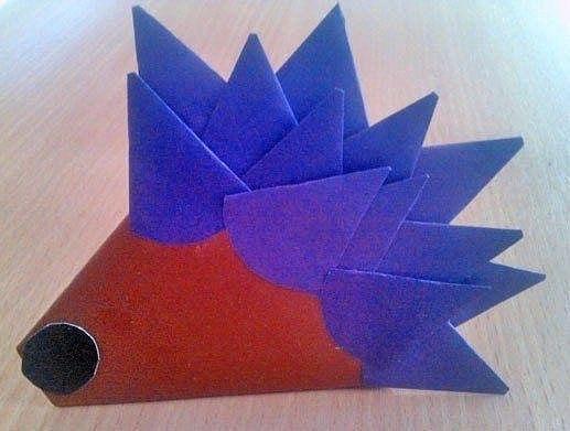Объемный ёжик из бумаги