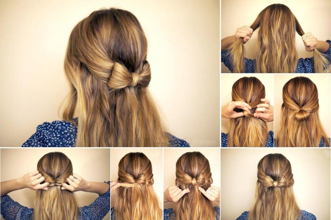 Красивые причёски на средние волосы в школу своими руками фото