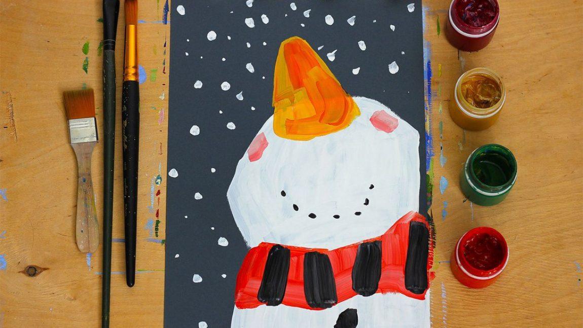 Рисуем забавного Снеговика!