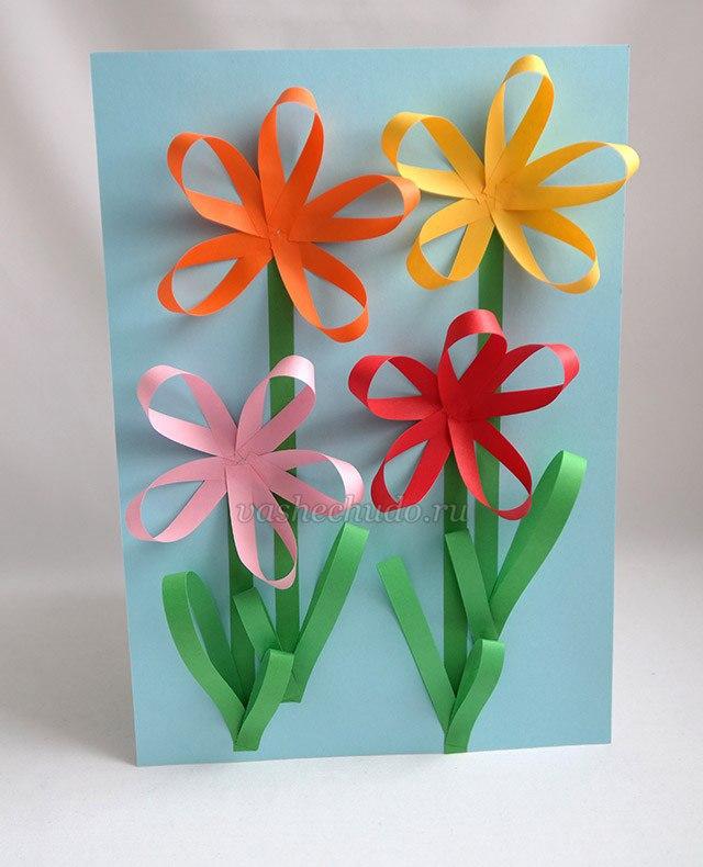 Свадебное открытки, открытка цветок из полосок
