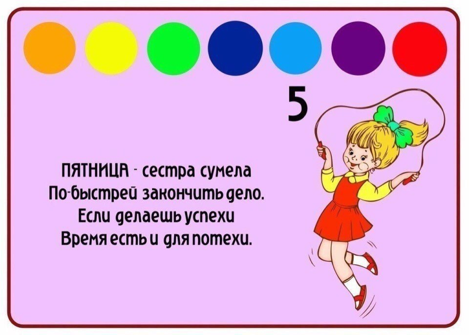 Неделя картинки для детей дошкольного возраста