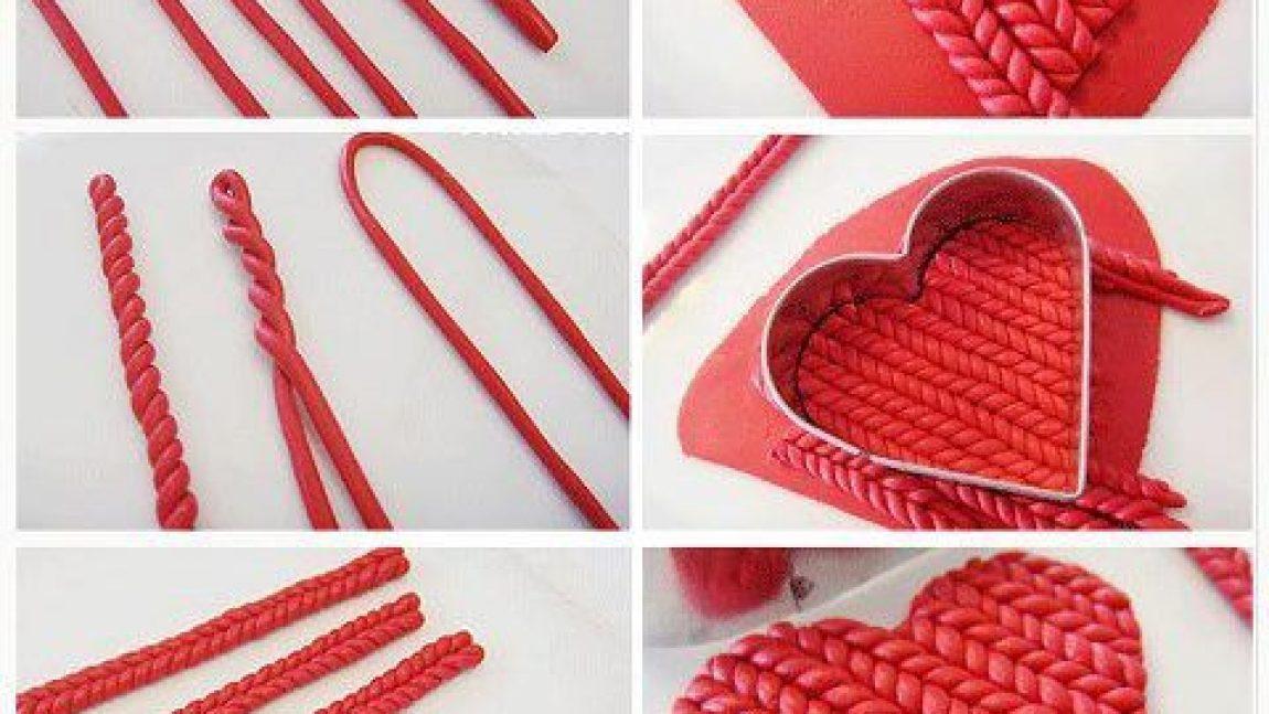 Плетёное сердечко из полимерной глины