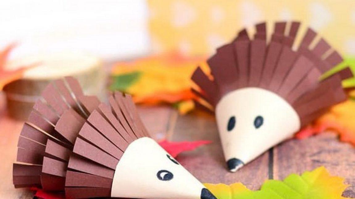 Осенние ёжики из бумажных конусов