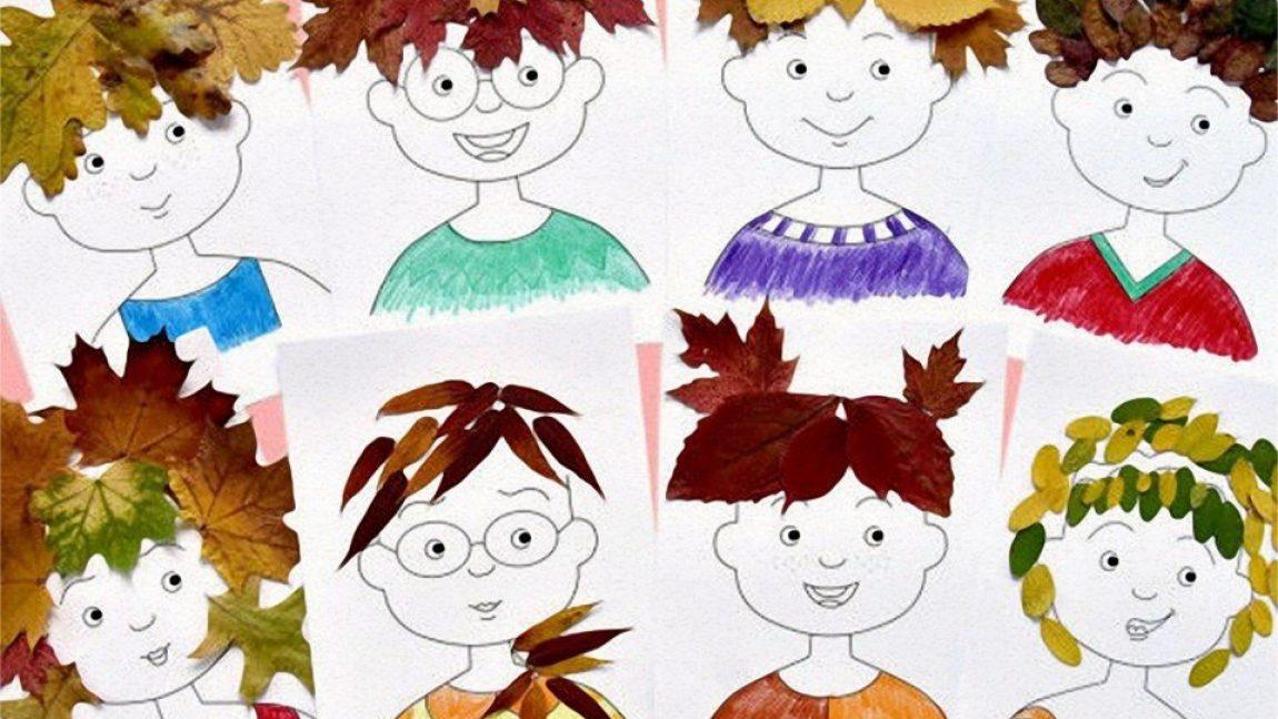 Причёски из осенних листьев